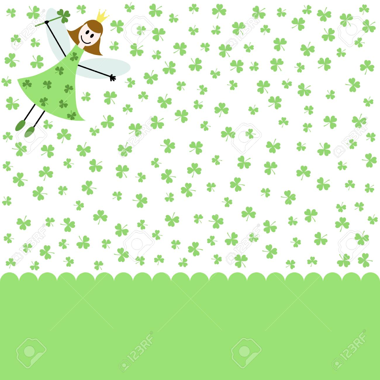 green card with fairy girl and shamrocks Stock Vector - 18282750