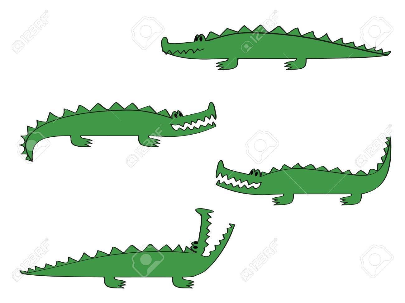 a cartoon crocodile in four different poses royalty free cliparts