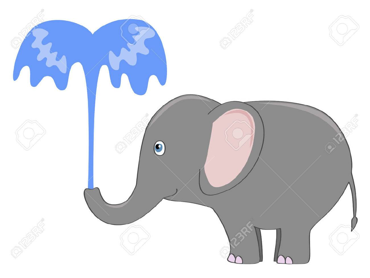 Cute Gray Elephant Pouring Itself With A Fountain Of Water Royalty ...