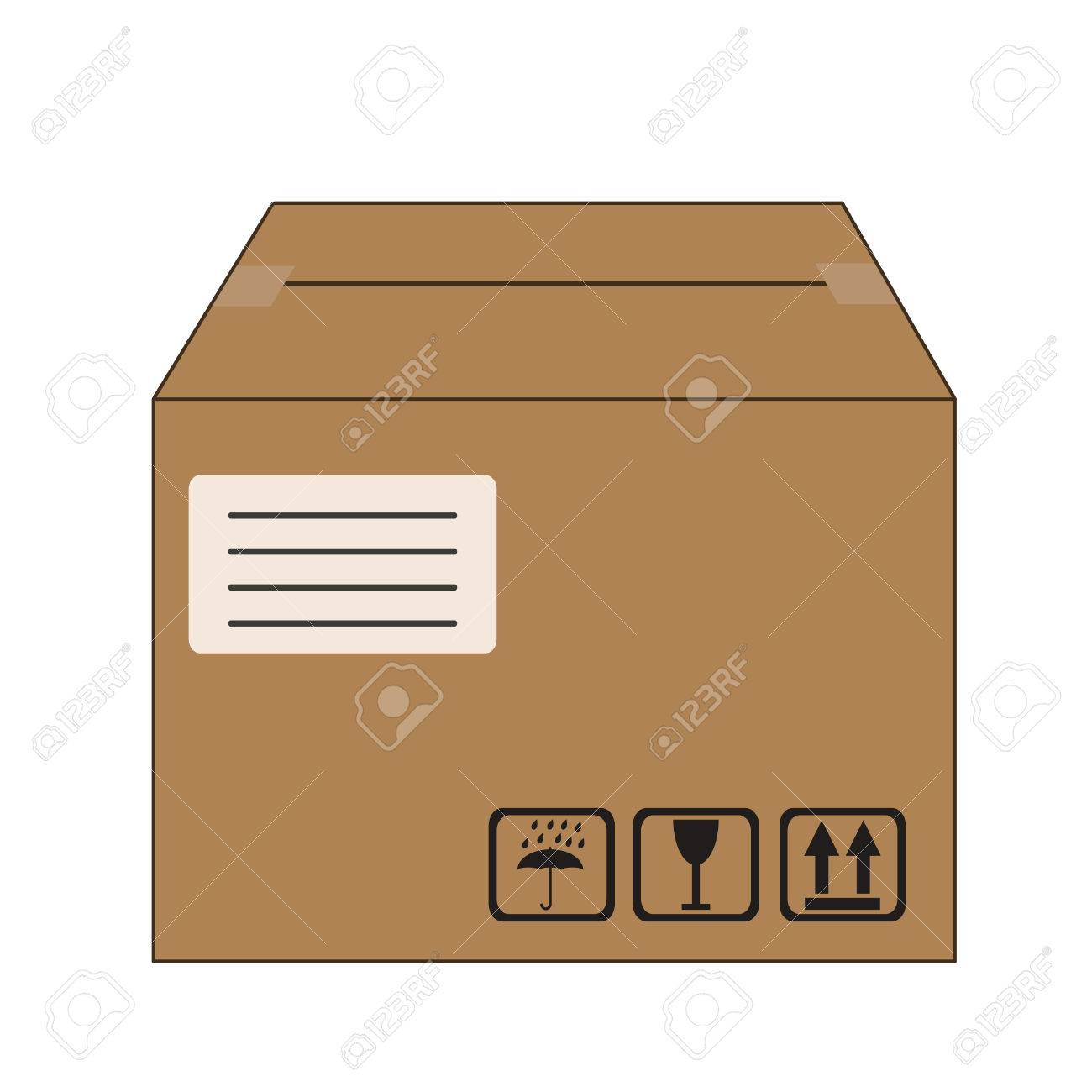 Brown Packed Cardboard Box With Address Label And Package Handling