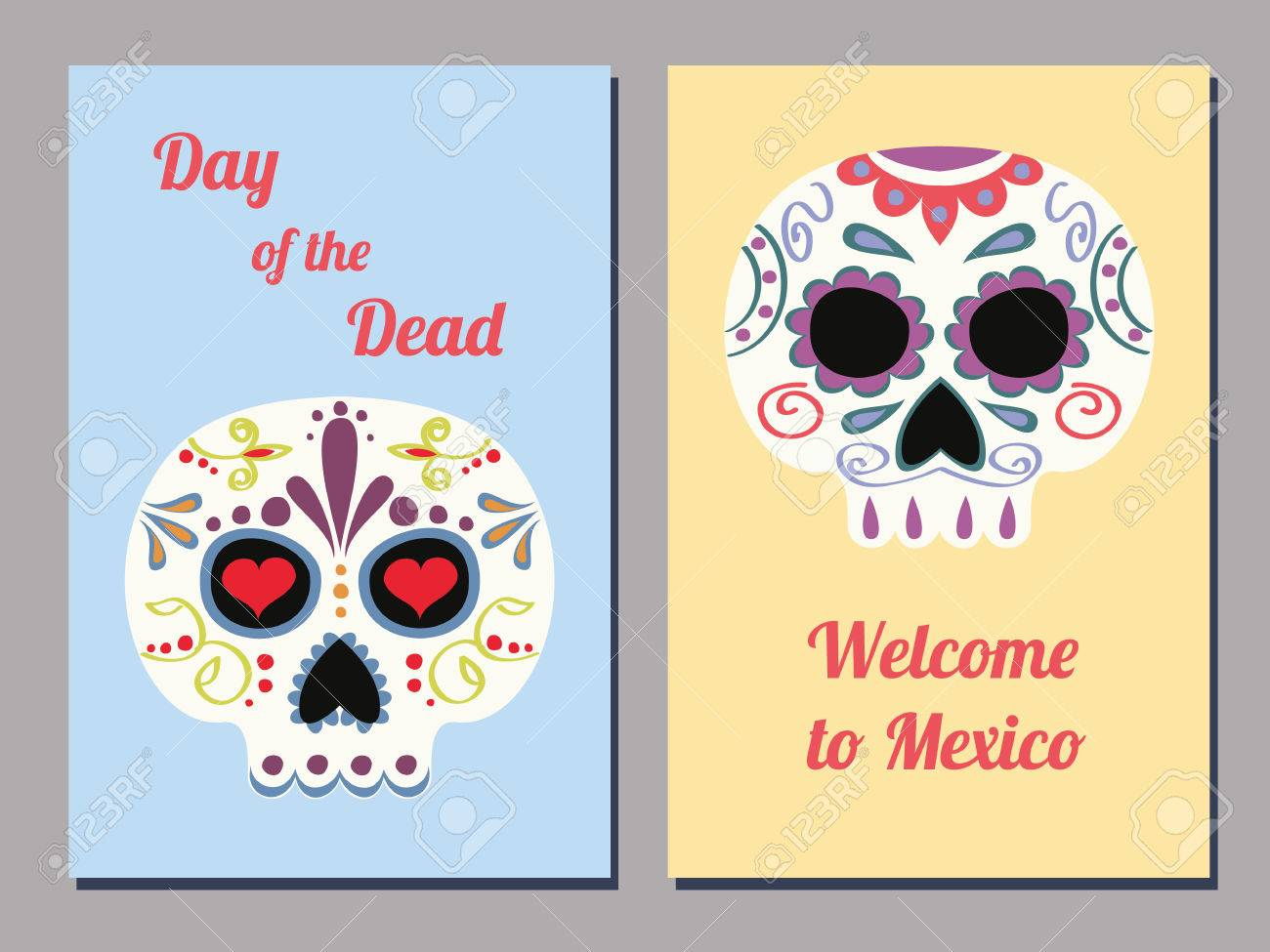 Set of two vector greeting cards for the mexican day of the dead set of two vector greeting cards for the mexican day of the dead with decorated human m4hsunfo
