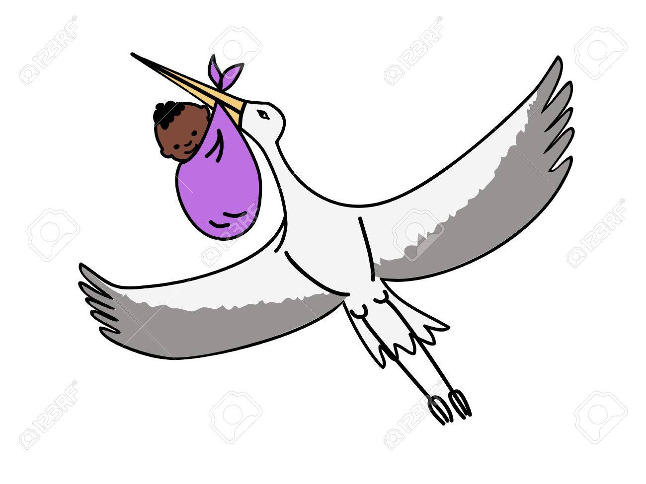 Baby Shower Stork Clipart ~ A flying stork carrying a bundle with a newborn black baby royalty