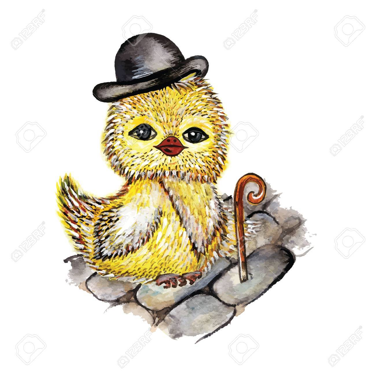 Chick owl in a top hat and a cane Stock Vector - 70915217 f9ea3d39bef1