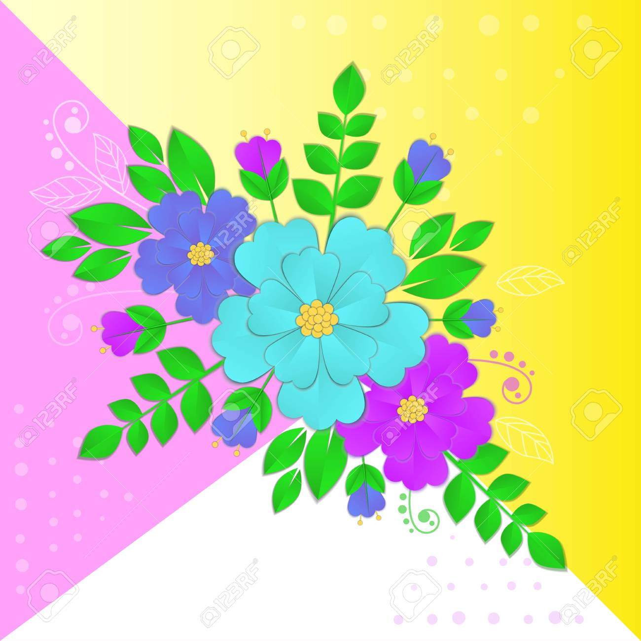 Paper Flowers And Leaves On Bright Background Royalty Free Cliparts