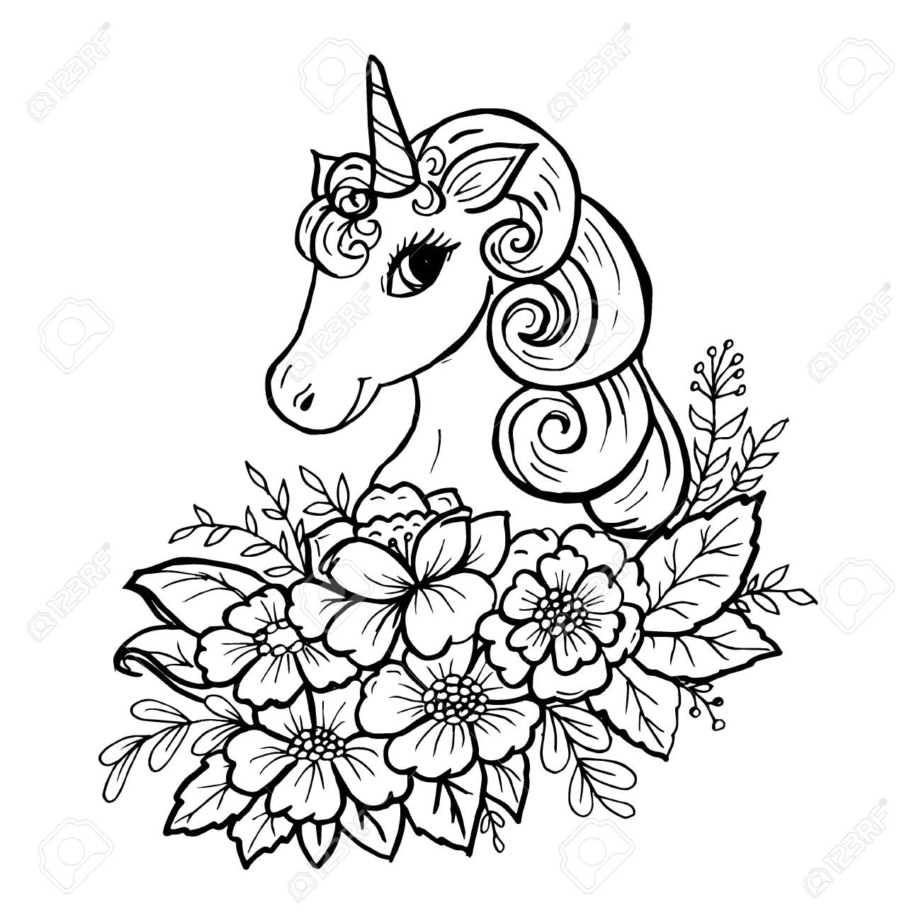 Doodle Cute Unicorn Head In Colors Black On White Royalty Free