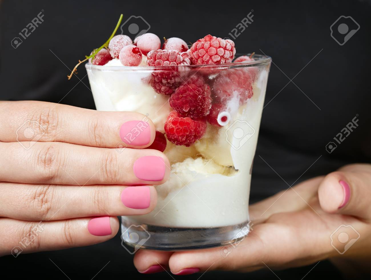 Hands With Pink Matte Manicured Nails Holding A Jar With Ice.. Stock ...
