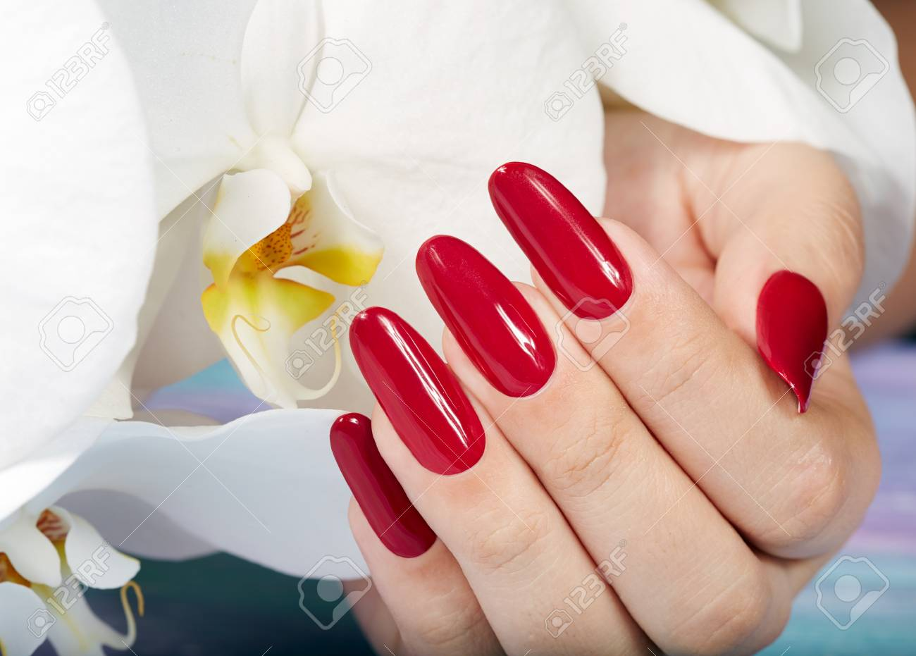 Hand With Long Artificial Manicured Nails Colored With Red Nail ...