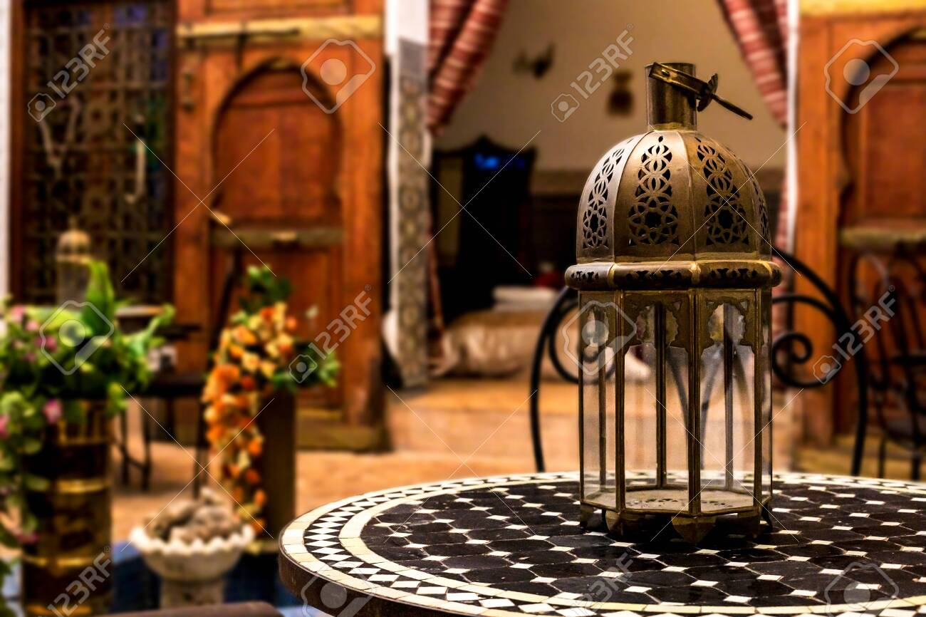 Traditional Arabic Resting Place Living Room With Original Lamp Stock Photo Picture And Royalty Free Image Image 138382342