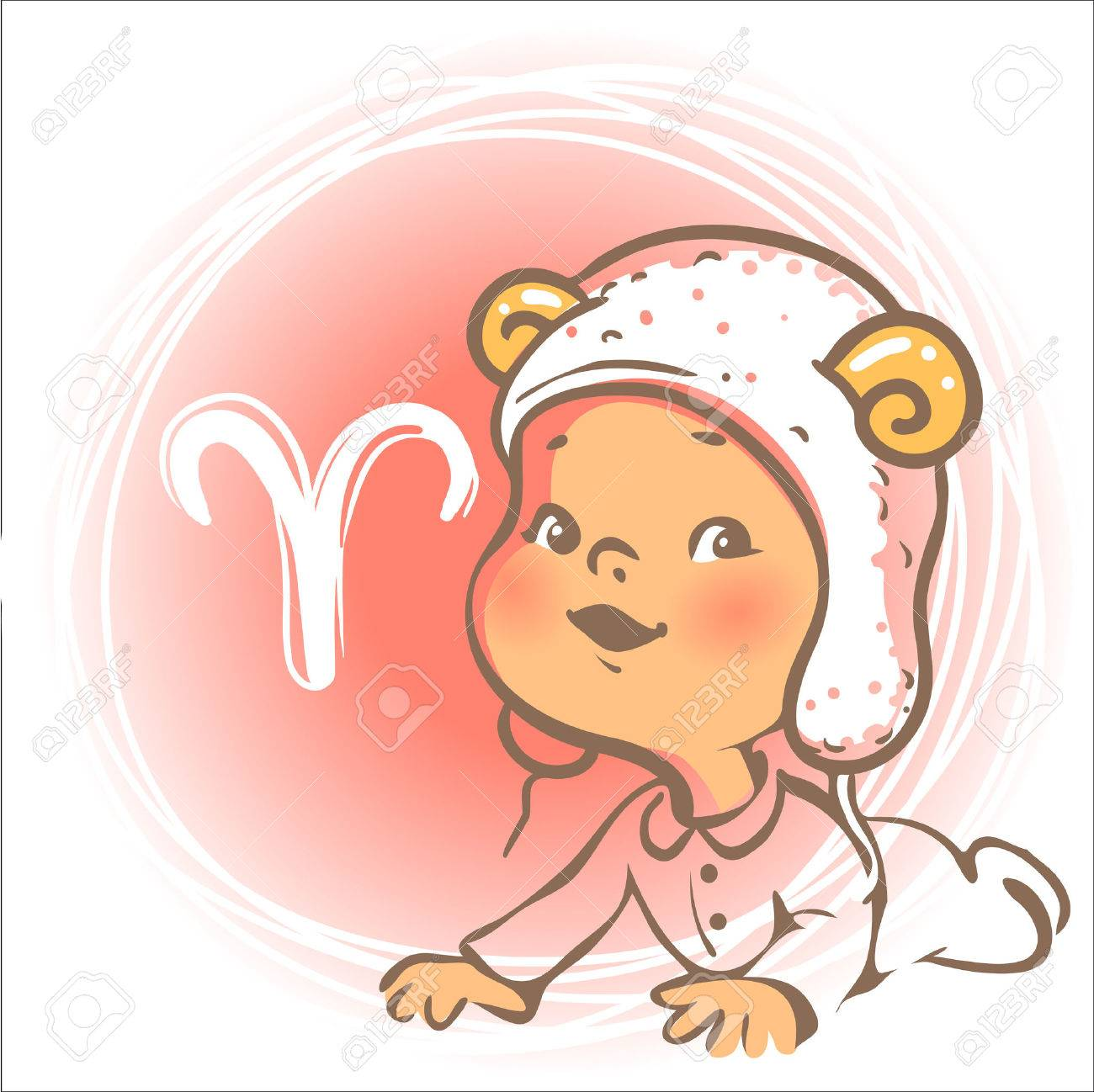 Children horoscope icon. Kids zodiac. Cute little baby boy or girl as Aries astrological sign. Funny animal hat with horns. Colorful illustration. Astrological symbol as cartoon character. - 46608467