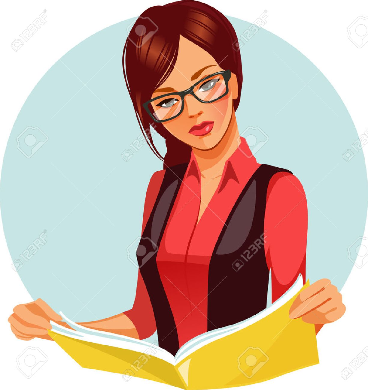 portrait of brunette woman reading book. beautiful woman wearing