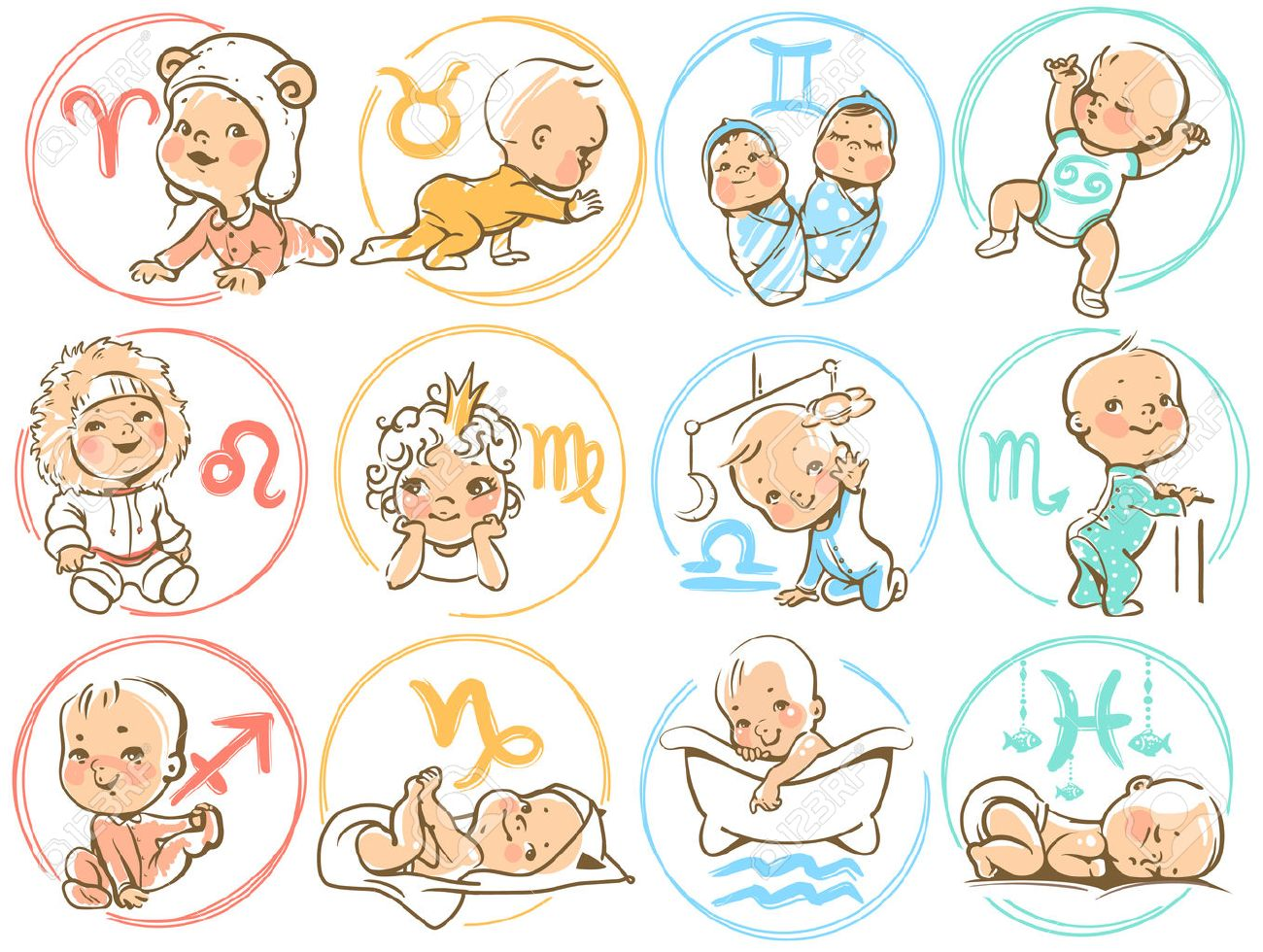 Set of zodiac icons. Horoscope signs as cartoon characters. Cute baby boys and girls as astrological symbol. Colorful vector illustration. Baby in diaper, crawling, sitting, smiling, sleeping baby Stock Vector - 48965717