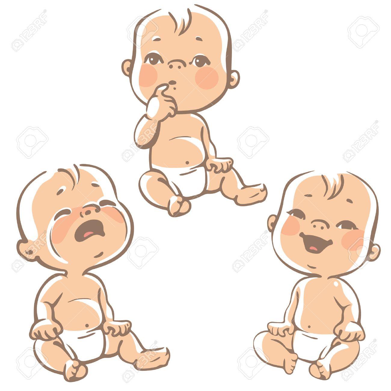 Conjunto De Iconos De La Emoción Bebé Dibujos Animados Pequeños