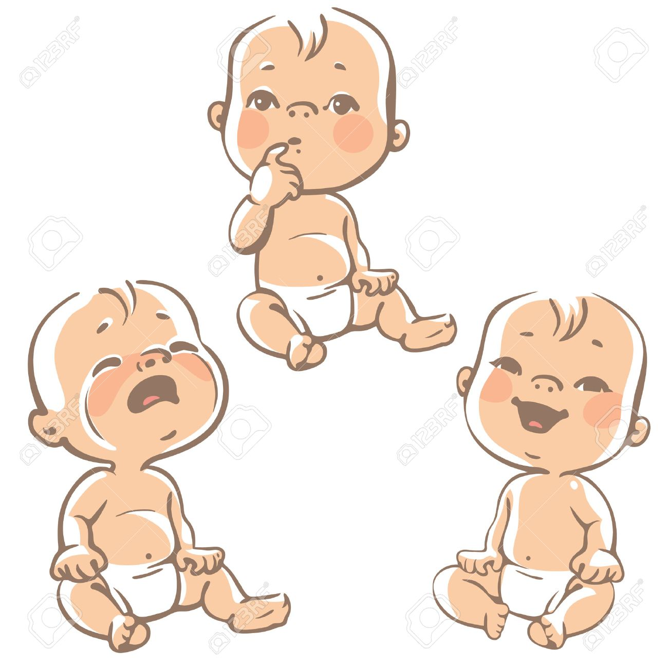 Set of baby emotion icons cartoon little babies in diapers set of baby emotion icons cartoon little babies in diapers crying baby smiling voltagebd Image collections