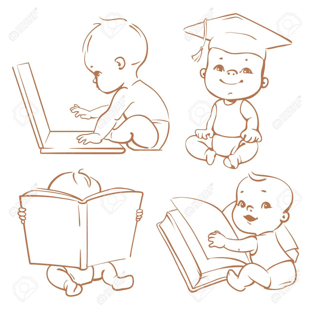 Set With Genius Babies In Diapers Cute Boy Reading Book Toddler Graduate Cap