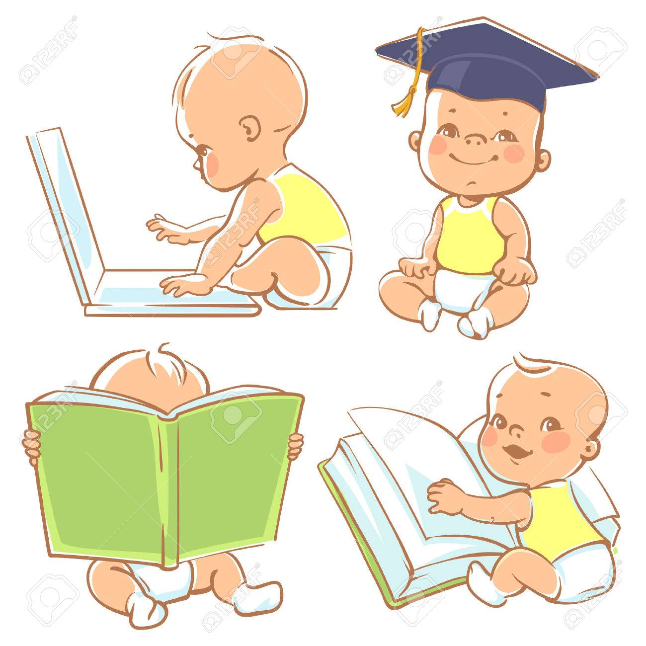 Set with genius babies in diapers. Cute boy reading book. Toddler in graduate cap. Baby with computer. Concept of development of abilities of child and investment in the future of baby - 52237344
