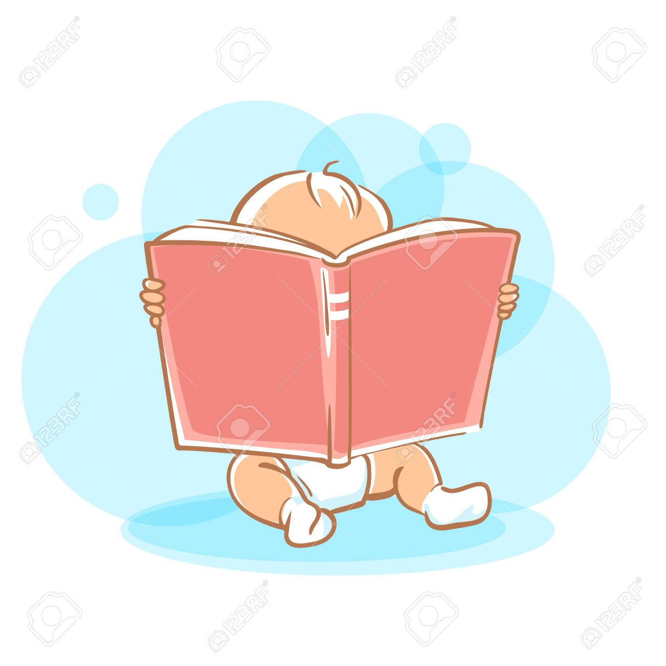 Genius baby in diaper holding open book, looking for answer. Toddler boy read sitting on floor. Concept of development of abilities of child and investment in the future. - 52237341