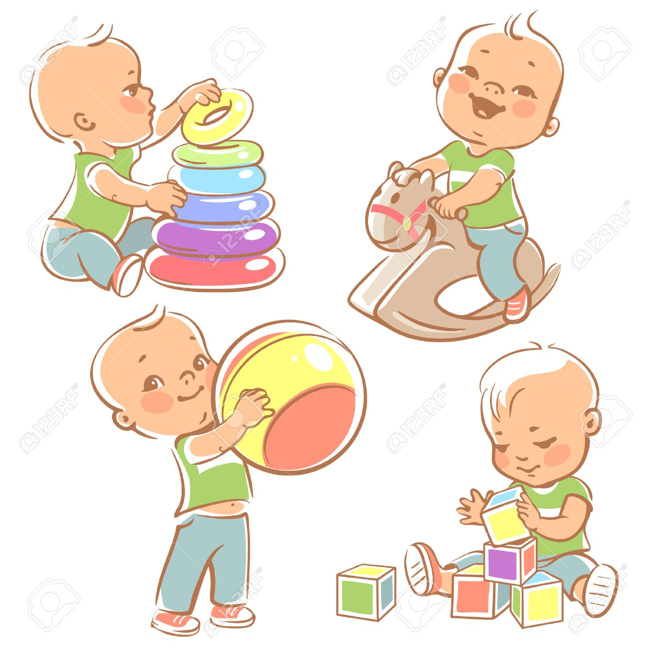 Children play with toys. Little baby boy riding a wooden horse. Kid with pyramid, boy holding a ball. Baby builds a house with cubes. Toys and games for one year old kid. Colorful illustration. - 52240642