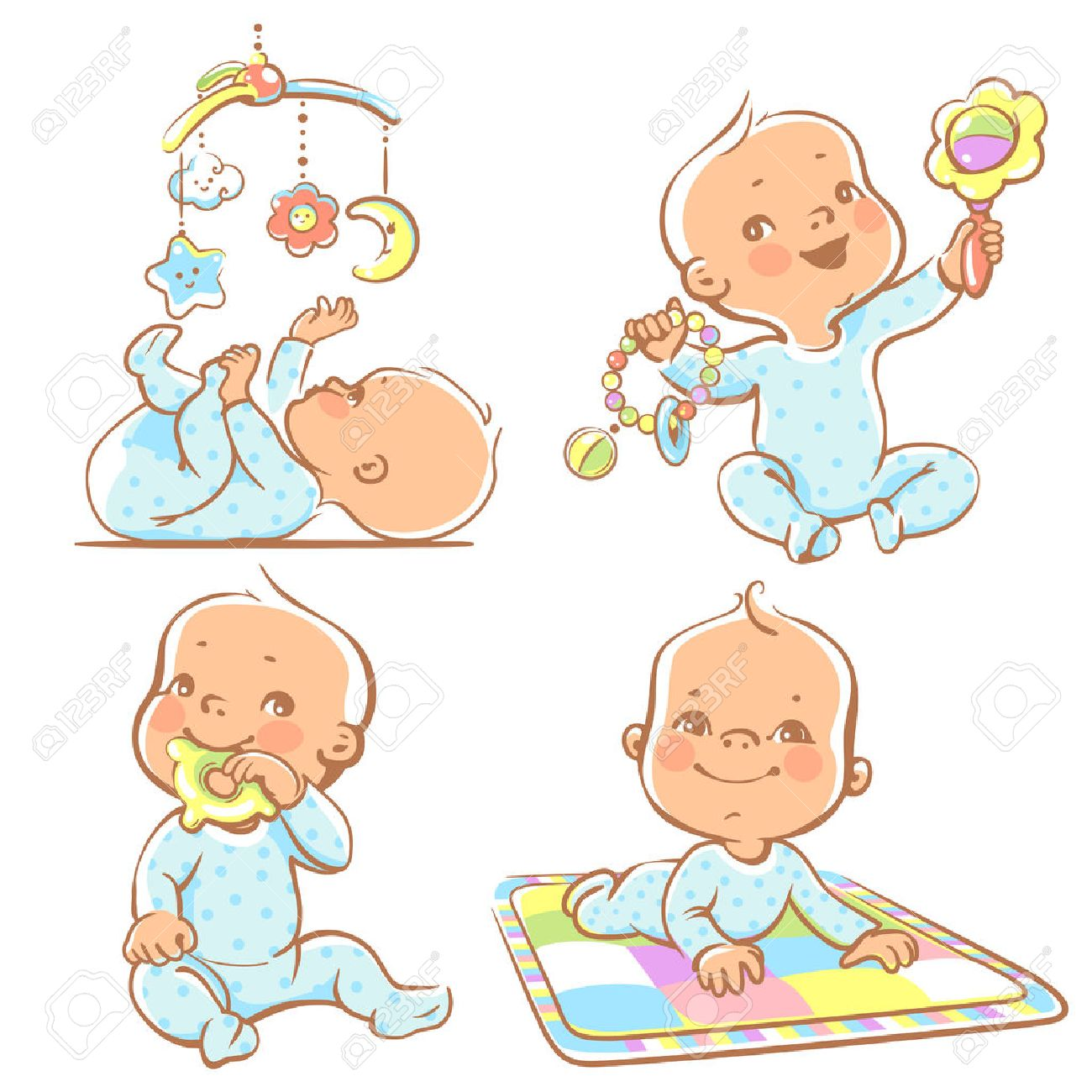 Set of babies playing toys. First year games. Baby hold teething toy. Baby lay on developing play mat  Baby look  at mobile toy.Colorful vector Illustration isolated on white background Stock Vector - 54354103