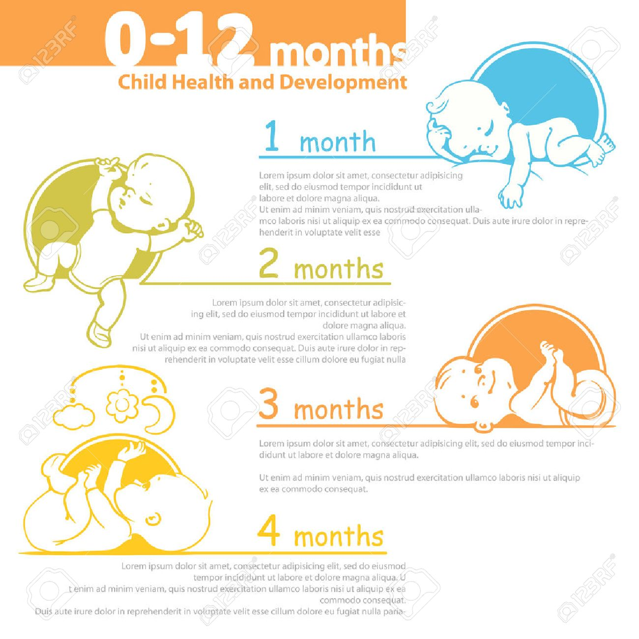 Set of child health and development icon.  Presentation of baby growth from newborn to toddler with text. Stock Vector - 56582530