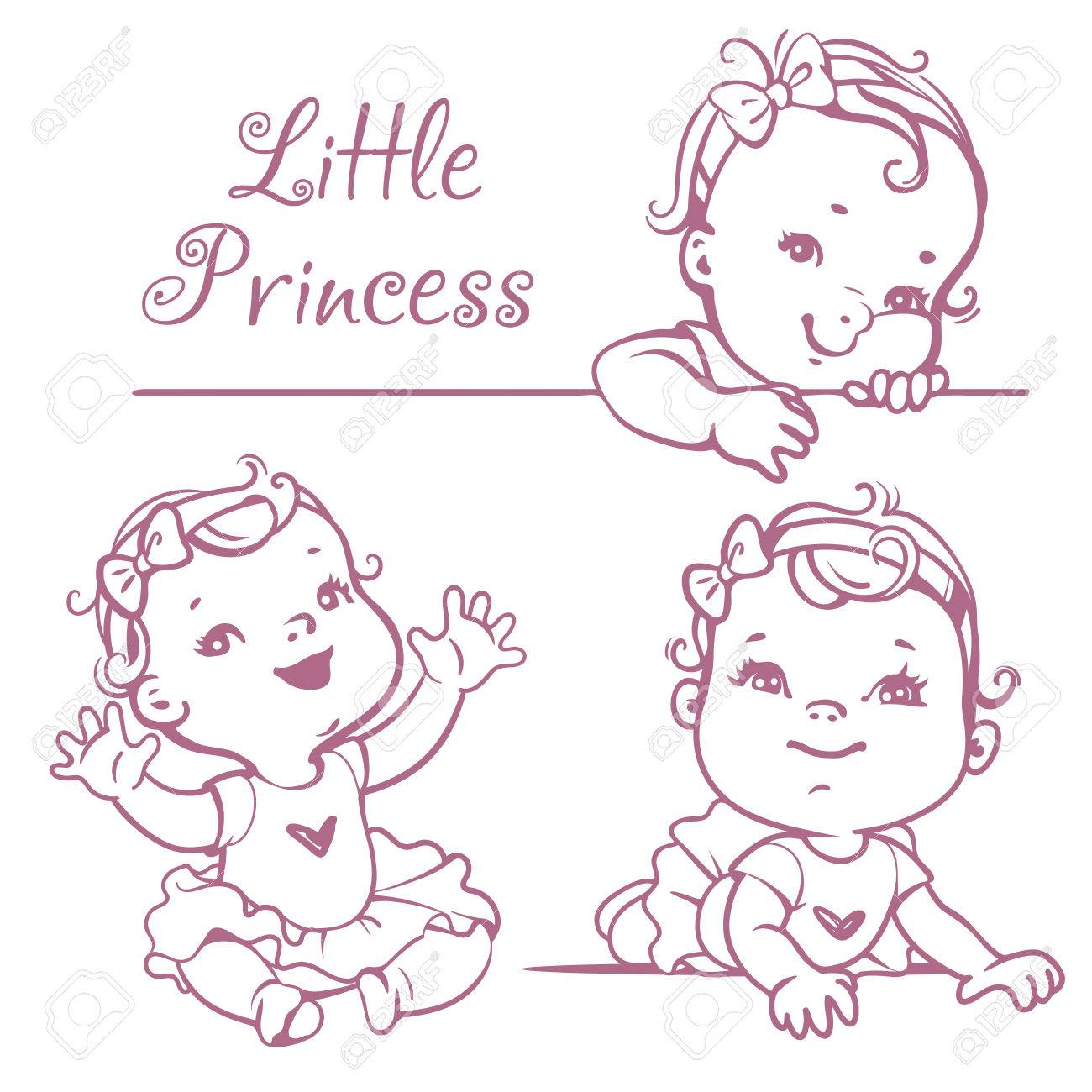Set with cute little baby girl with curly hair, wearing bow, pink tutu. Portrait of happy smiling child one year old. Little princess sitting, lying, smiling. Monochrome sketchy vector illustration. - 58943546