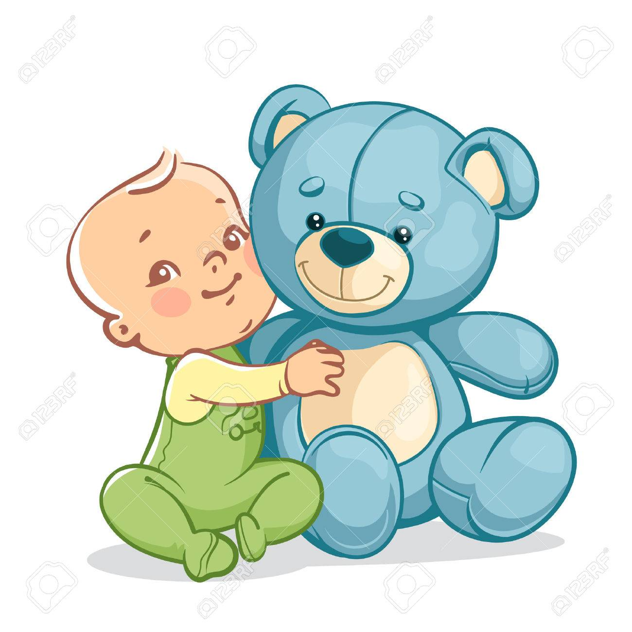 Little baby boy with big toy. One year kid holding teddy bear. Child playing with toy friend. Happy smiling baby sitting, hugging blue teddy bear. Vector illustration isolated on white background. - 63351923