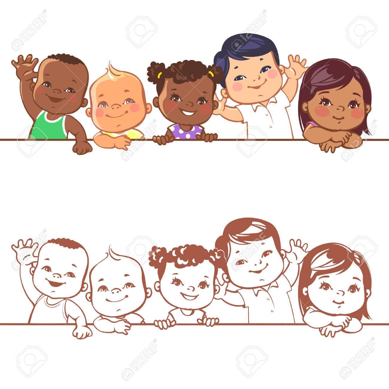 Multinational baby portrait. Multi-ethnic set of babies. Diverse nationalities. Toddlers holding blank banner. Vector illustration for school or kindergar en - 66881623