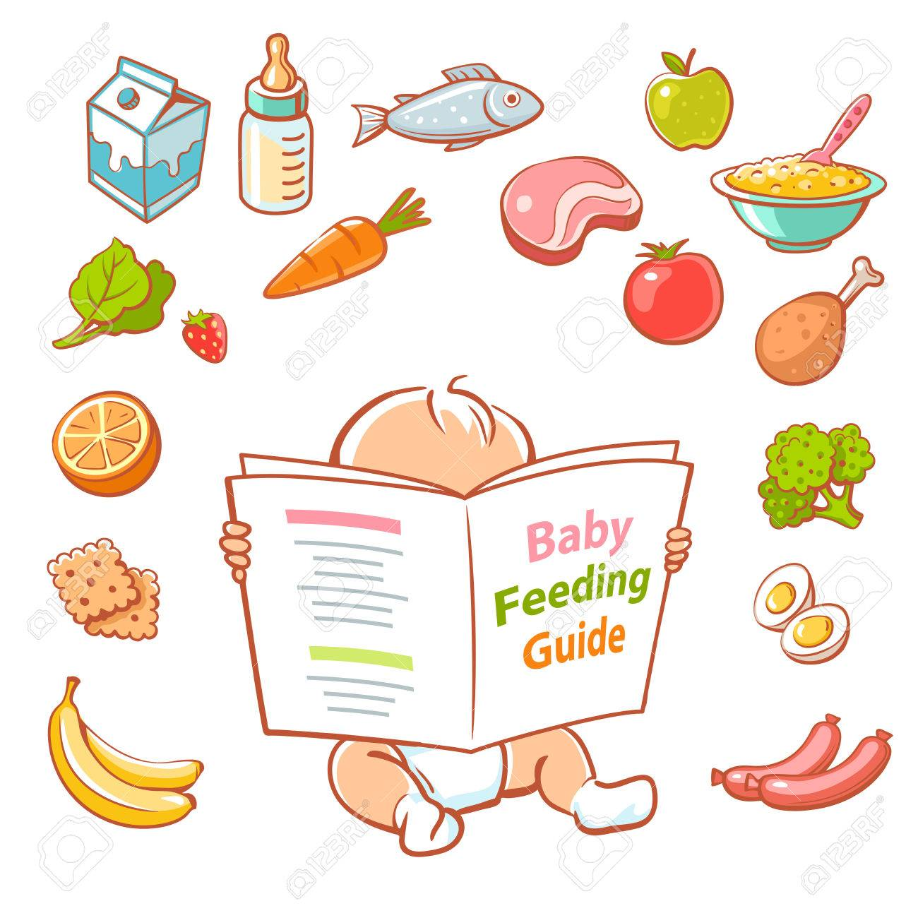 Cute little baby in diaper reading book. Baby feeding guide. Healthy meal for children. Set of vector cartoon vegetables, fruits, meat, milk icons. Smart kid read menu. - 71081943