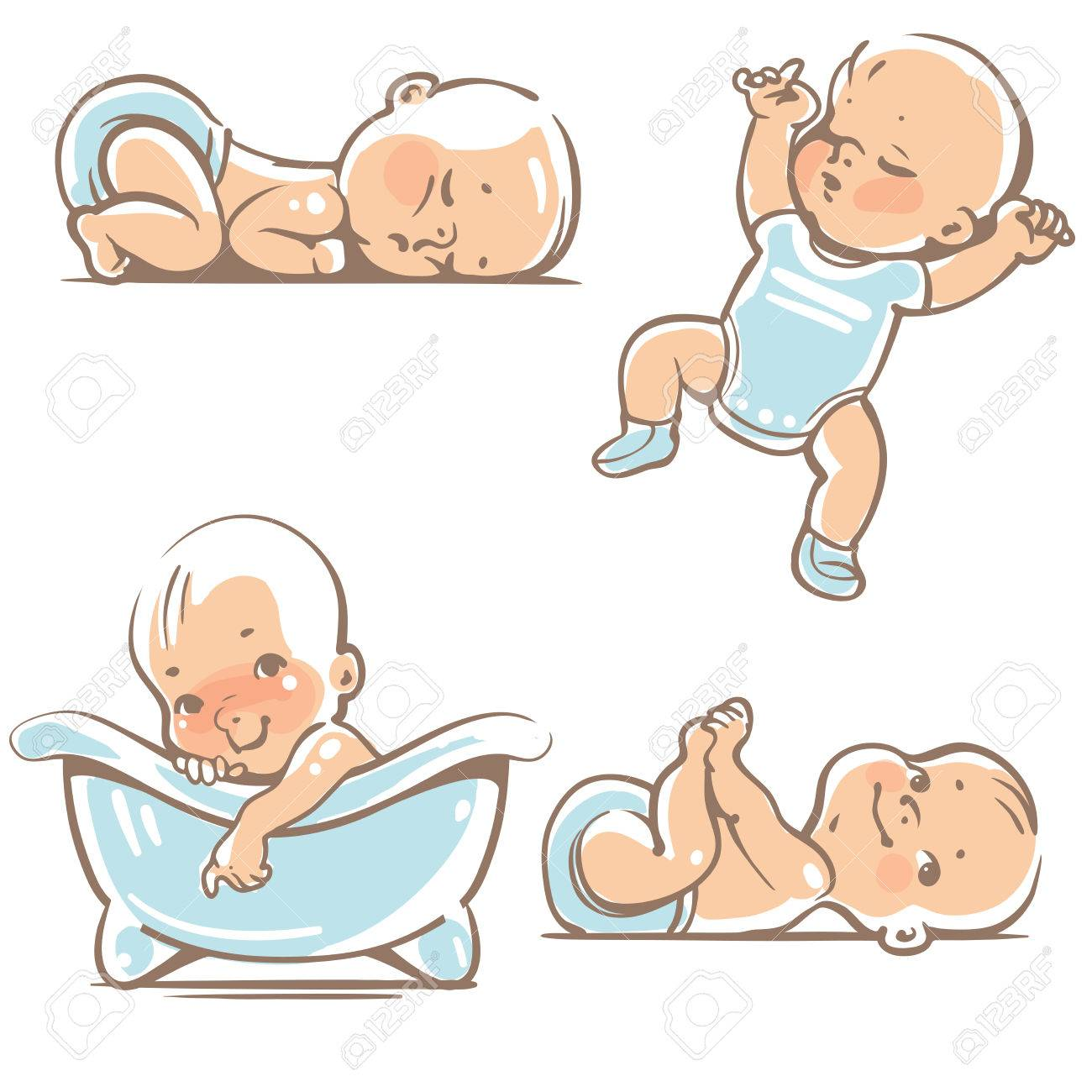 Set with cute baby boys 0-12 months. Various poses. First year activities. Sleeping positions, on stomach, on back, legs in hands. Swimming in bath. Vector Illustration isolated on white background - 74764672
