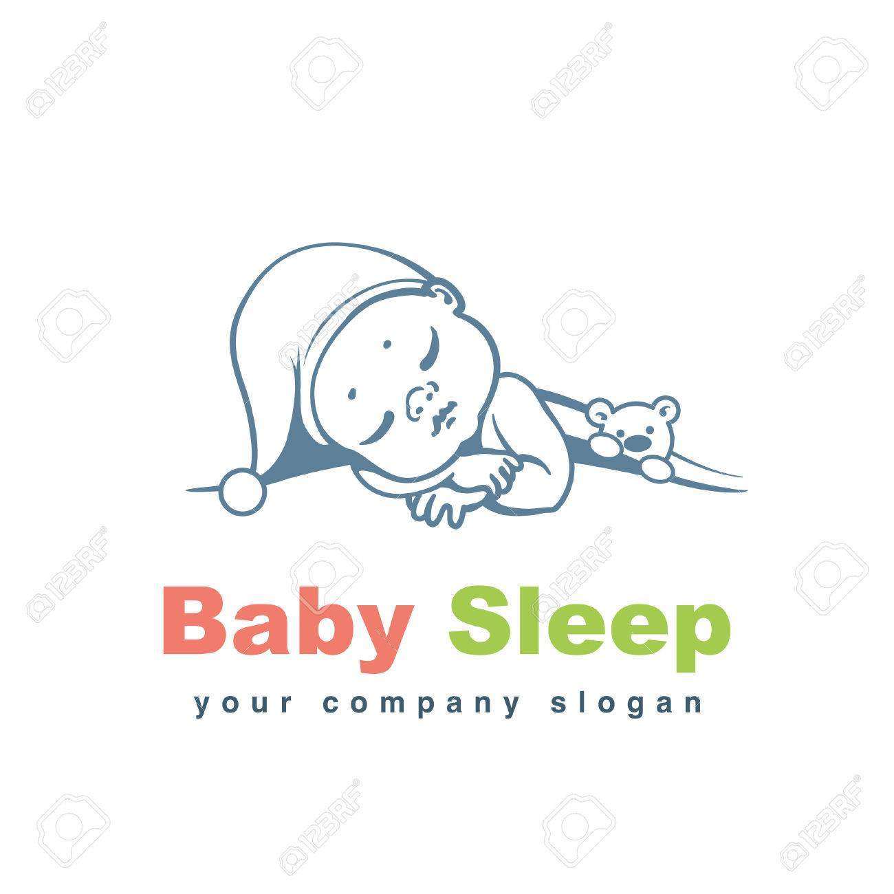 Baby Logo Template. Sleeping Baby Under Blanket. Child With Teddy ...