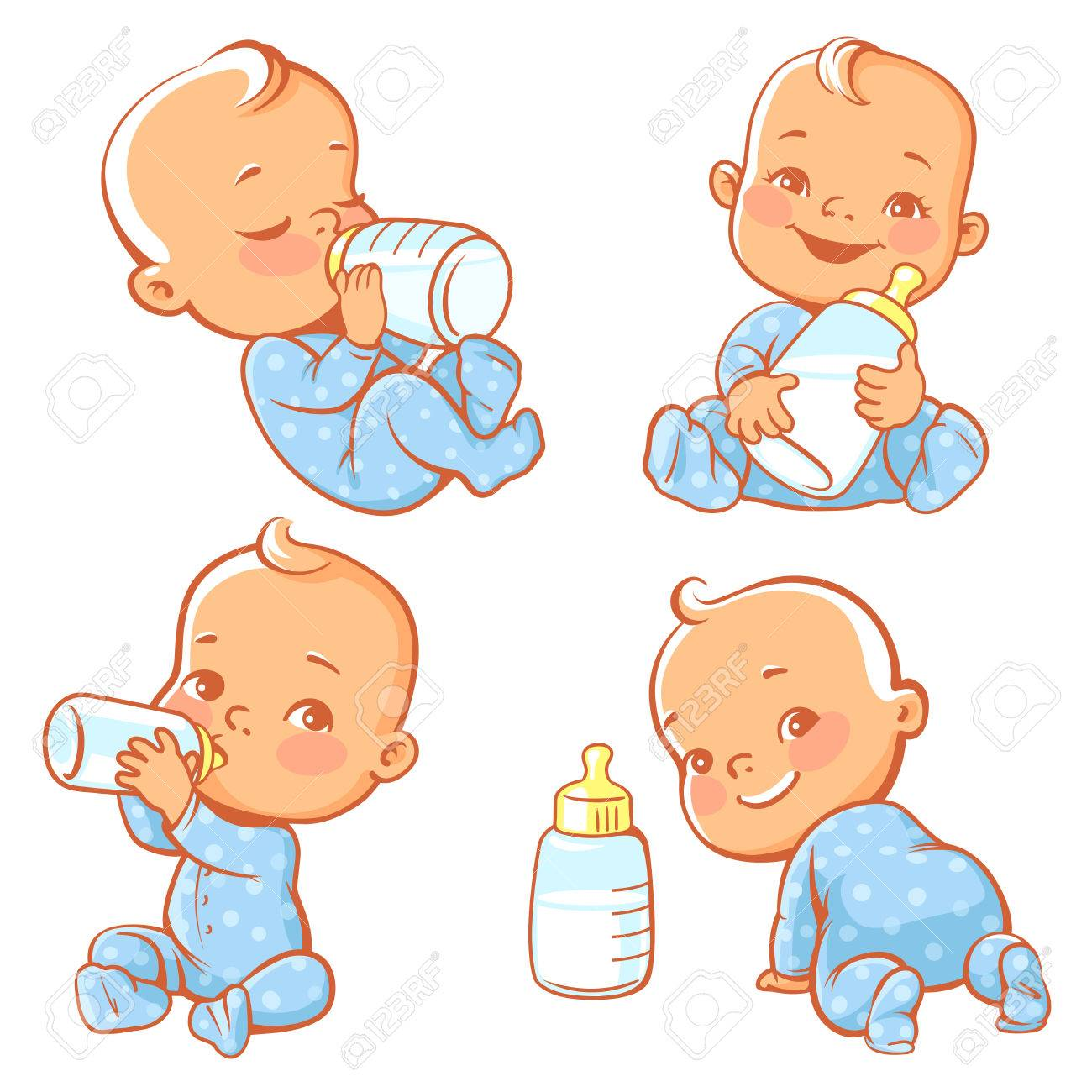 ebf0cae3c Set With Cute Little Baby With Bottle Of Milk. Newborn Baby Boy ...