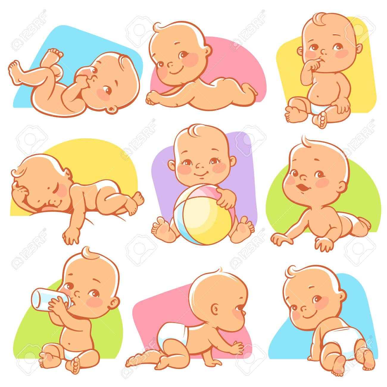 Set with cute little baby in different situations. Playing, sleeping, sitting, lying, crawling baby. Happy smiling newborn boy or girl. Vector illustration. - 76301825