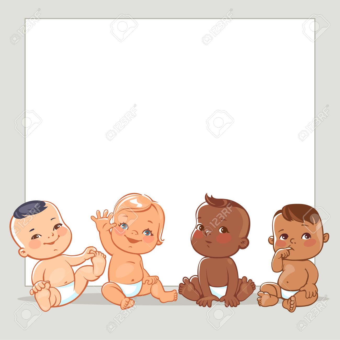 Cute little babies in diaper. Happy children of different nations.Smiling boys and girls of different races. Multinational kids. Diverse nationalities. Toddlers at blank banner. Vector illustration. - 76445371