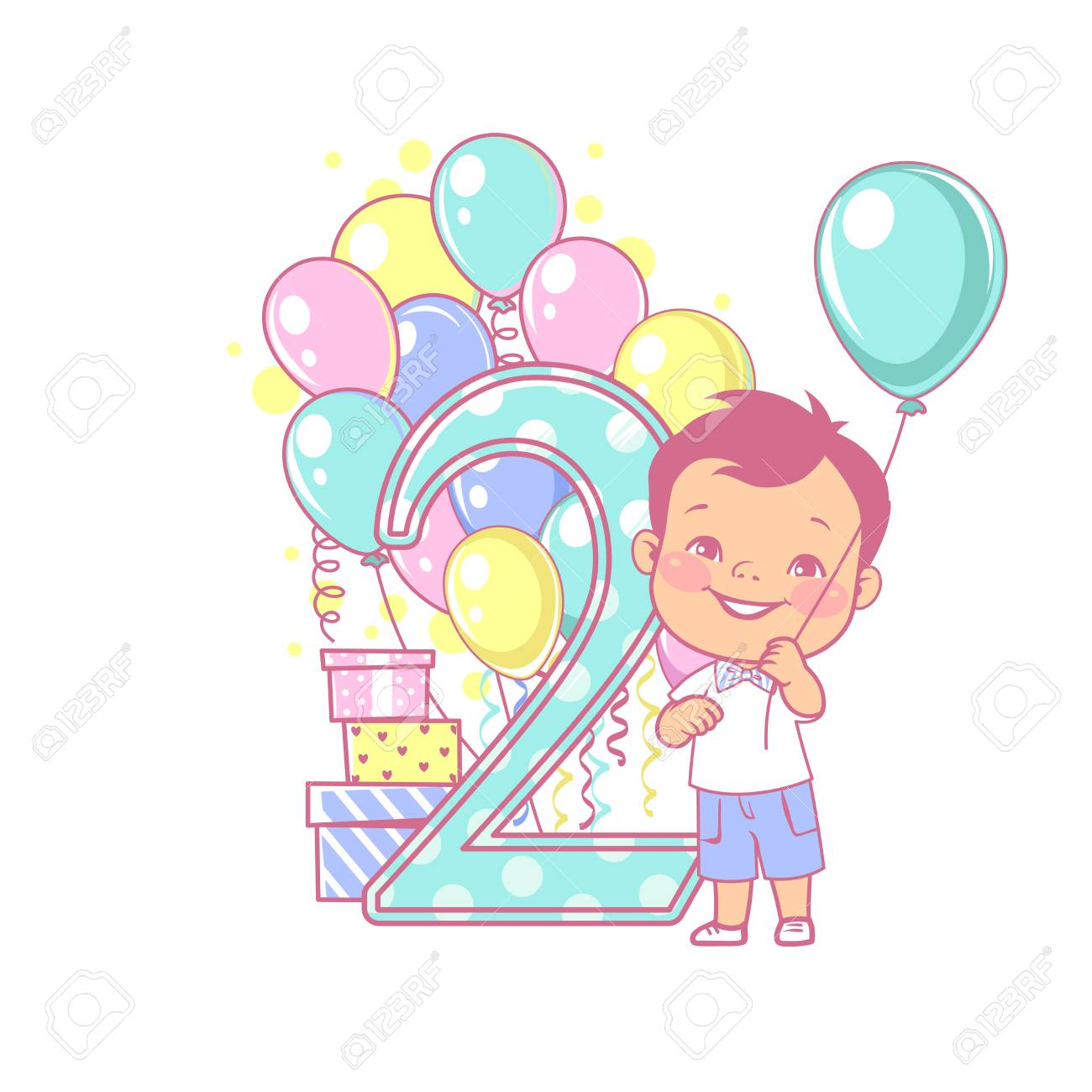 Two Years Old Boy Standing Near Large Number 2 Second Year Celebration Little Boys