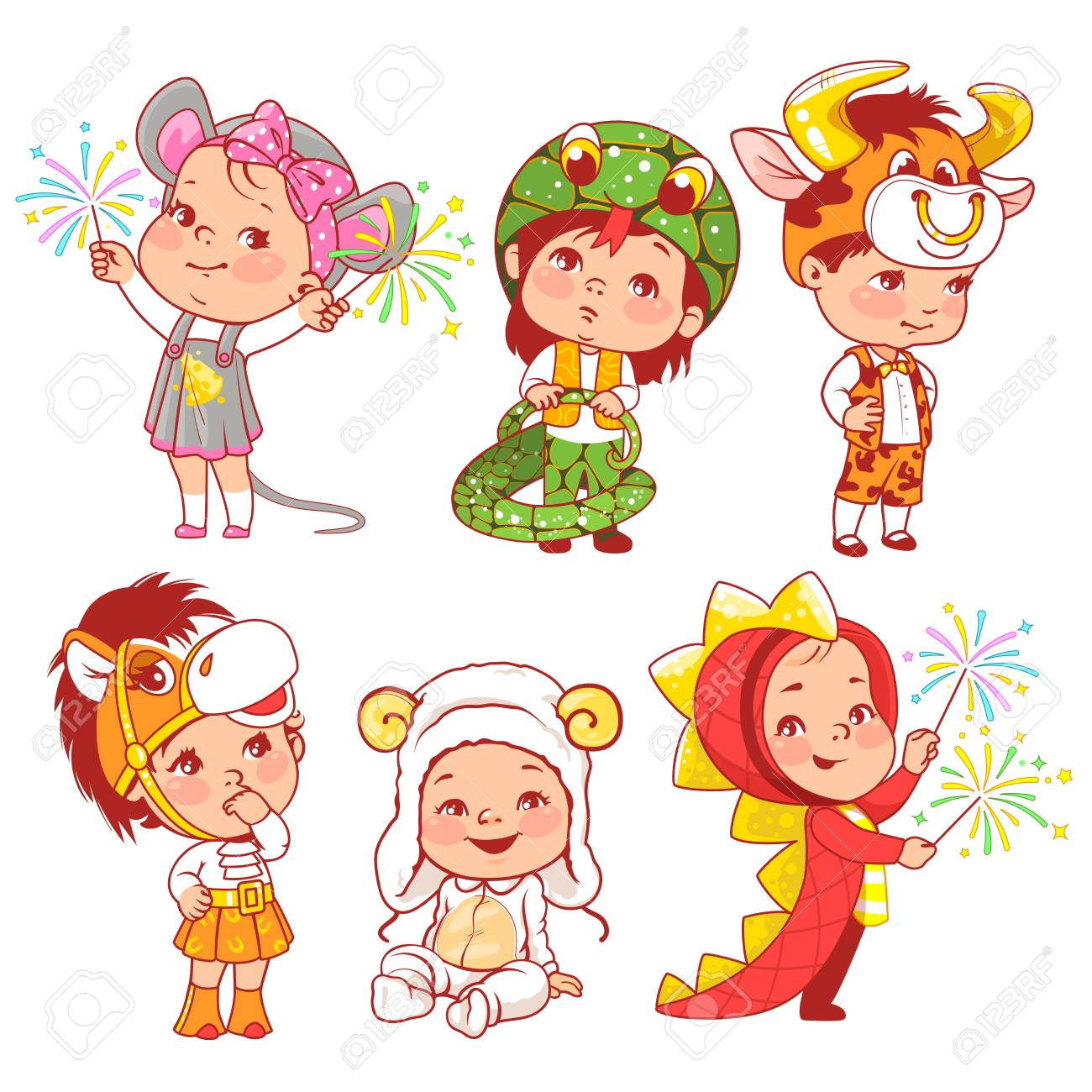 Cute little baby wear carnival costumes. Kindergarten masquerade. Preschool kids as animals. Mask of dragon, ox, mouse, snake, sheep, horse. Girls and boys play animals. Vector illustration. - 120538049