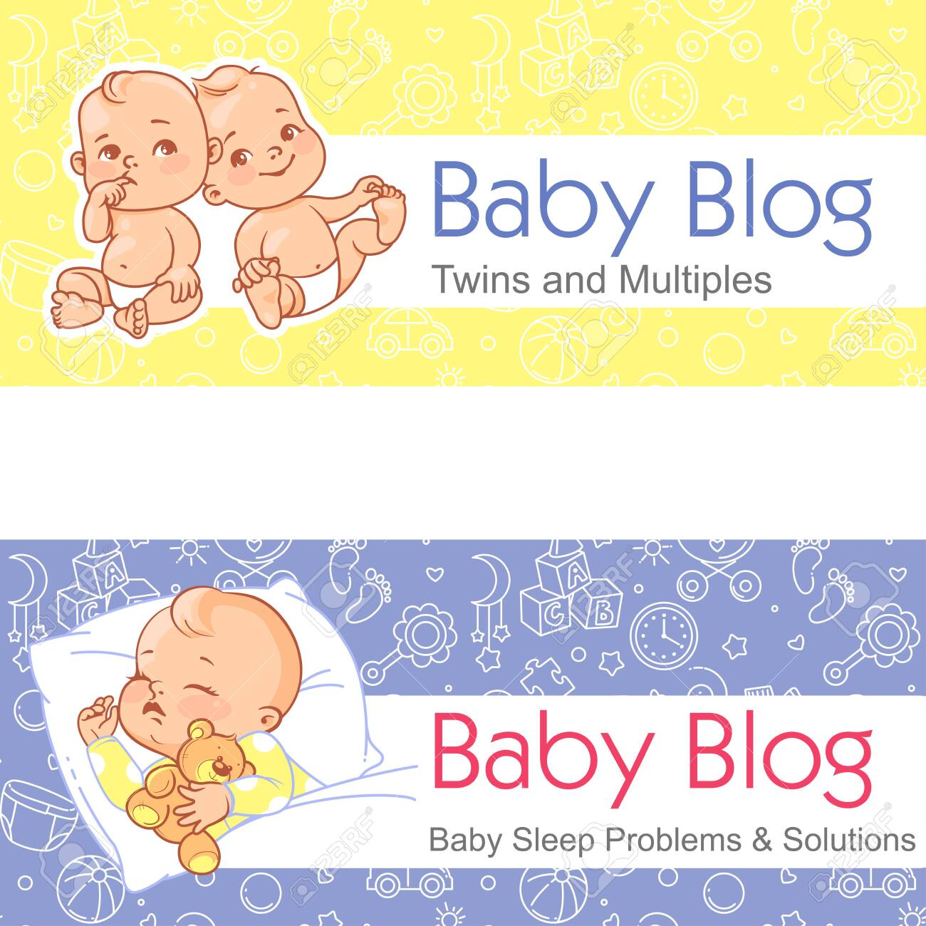 Baby Sleeping Twin Babies Design Template Banner With Text Royalty Free Cliparts Vectors And Stock Illustration Image 124291197