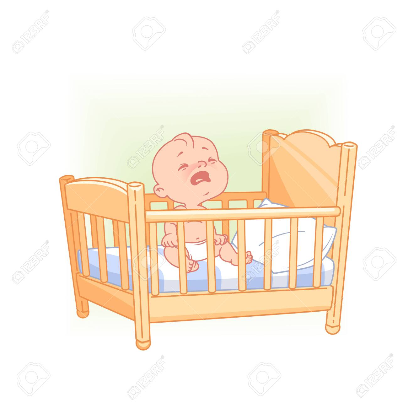 Cute little baby sit awake crying in bed. - 126067387