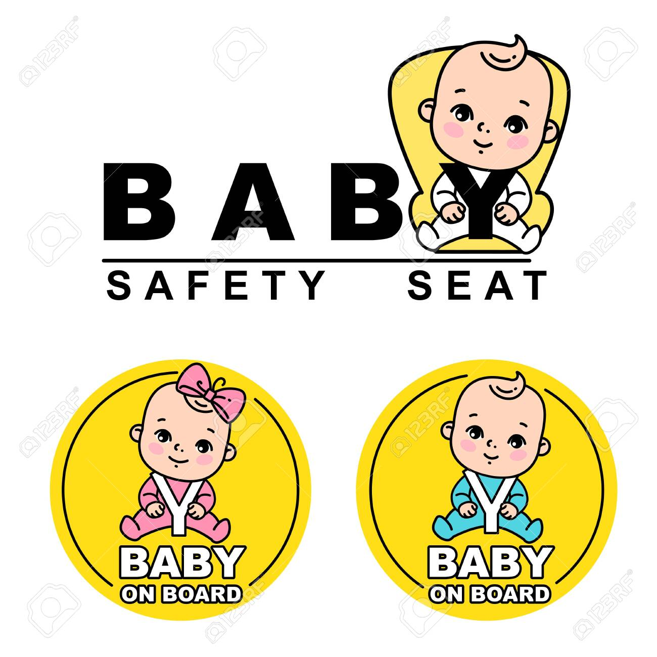 Baby Safety Seat Emblem Sticker For Car Baby On Board Icon Royalty Free Cliparts Vectors And Stock Illustration Image 131970598