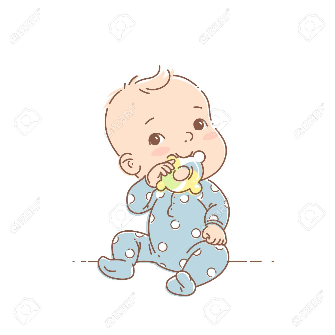 . Cute toddler child with toy in mouth. Color vector illustration...