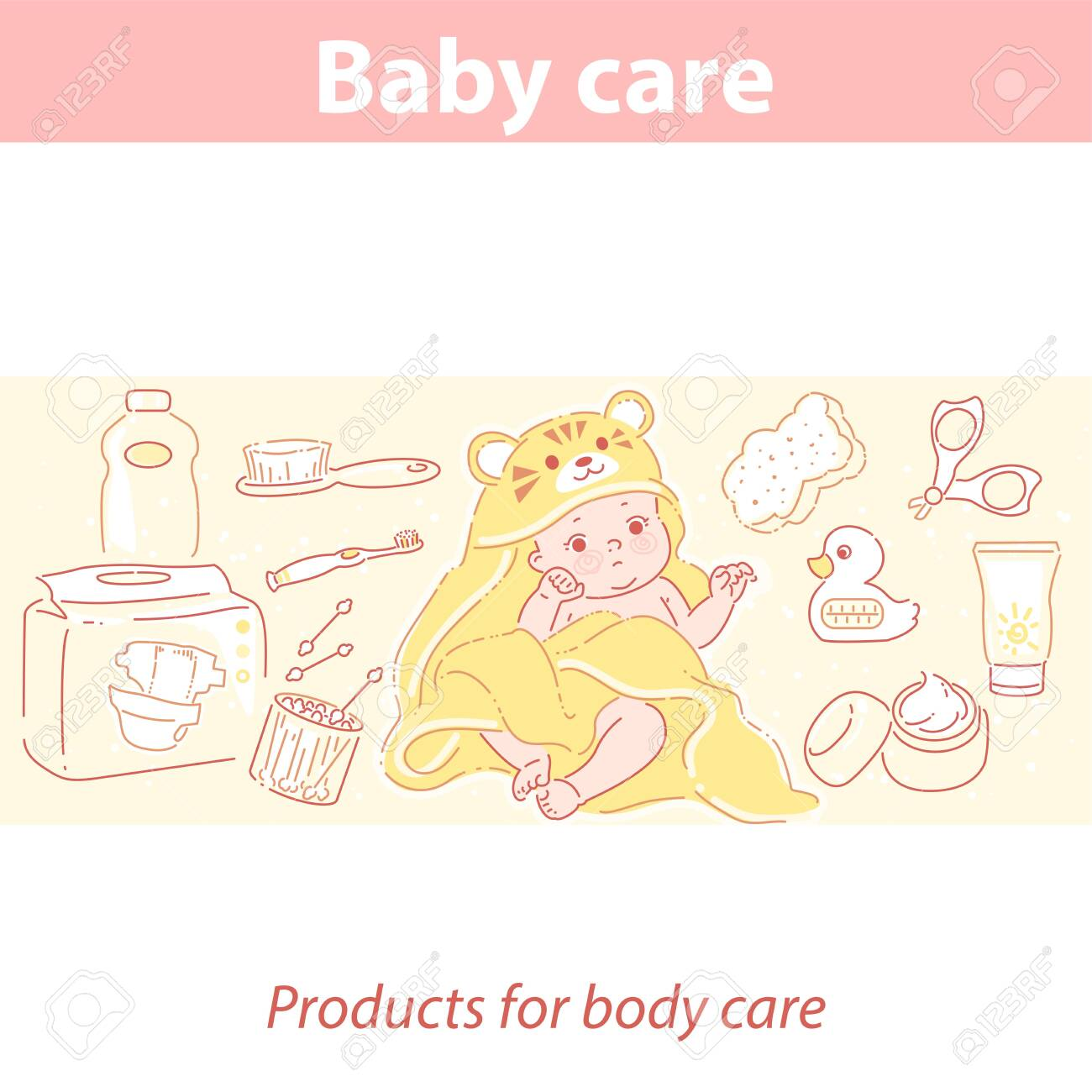 Cute little baby in tiger towel after bath. - 156413475