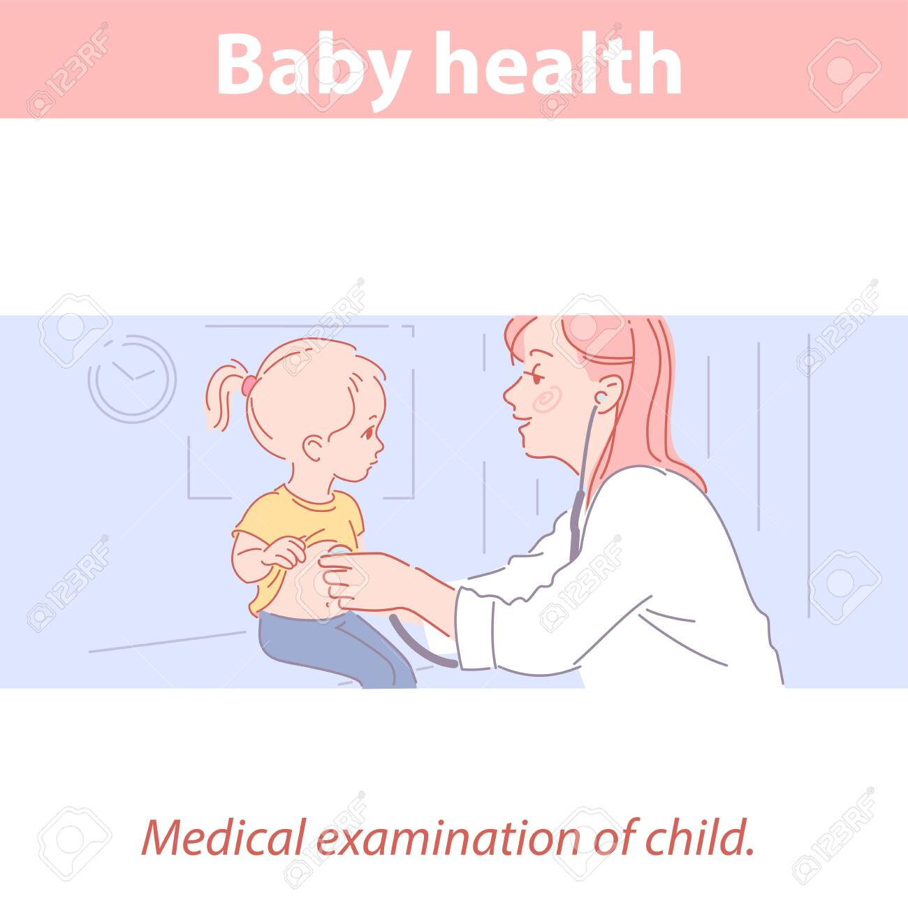 Cute little baby girl and doctor in medical clinic. - 156527169