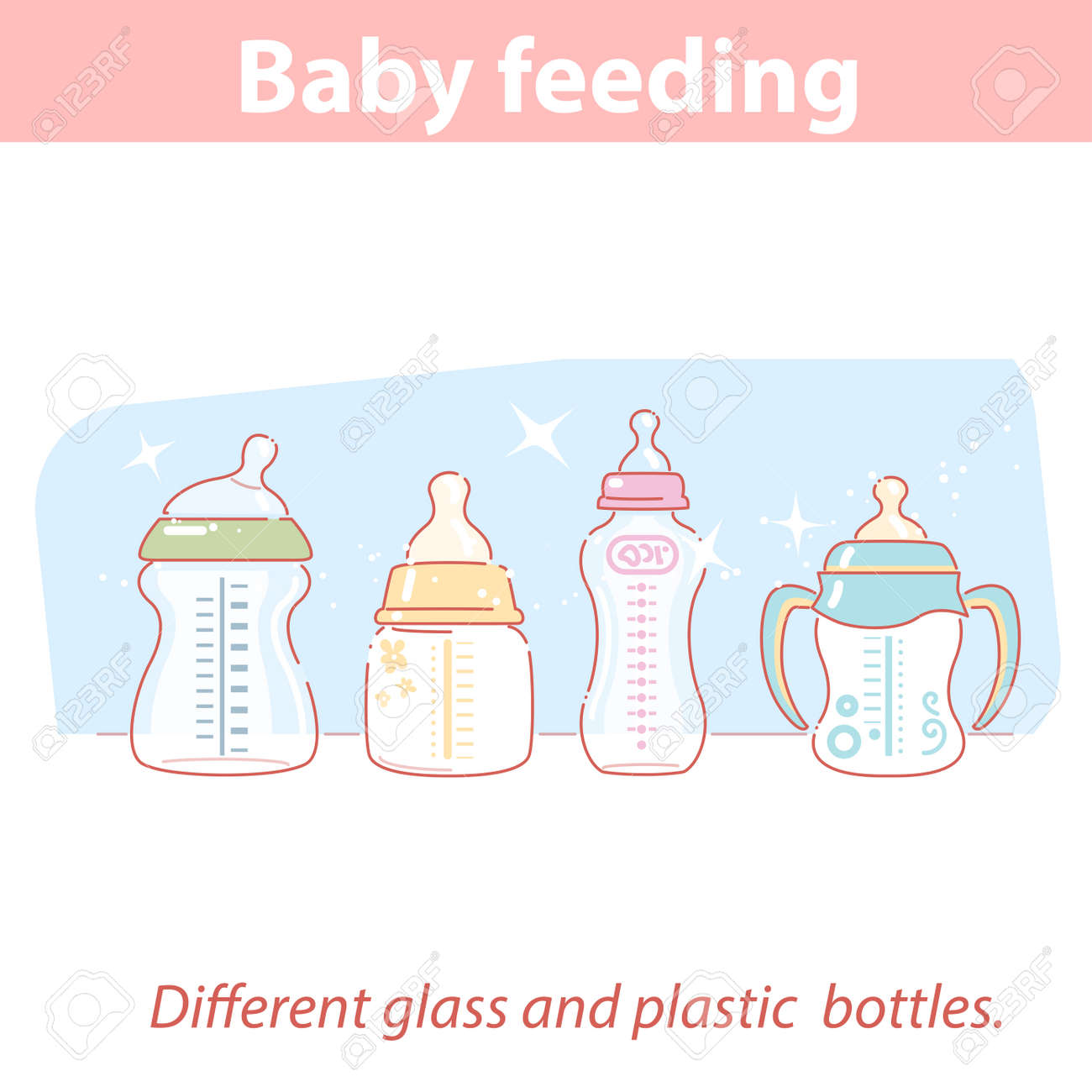 baby feeding. Set of different bottles for baby feeding in row. - 156494855
