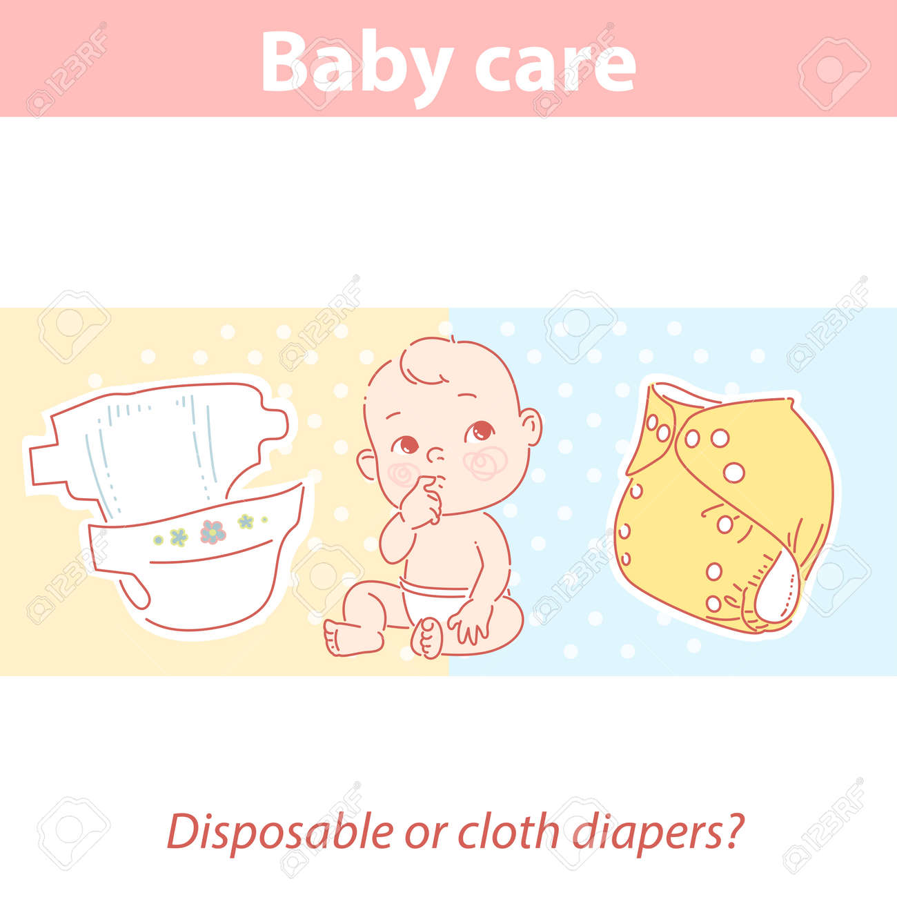 Cute baby looking up, choosing disposable or reusable cloth diaper. - 156884251