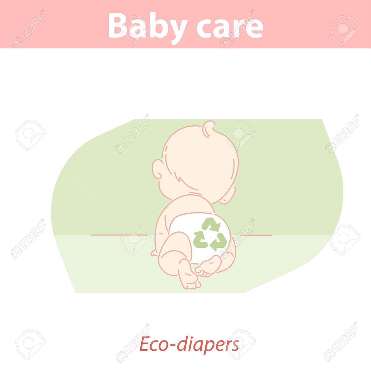 Little baby crawling wearing eco friendly reusable diaper. - 156683621