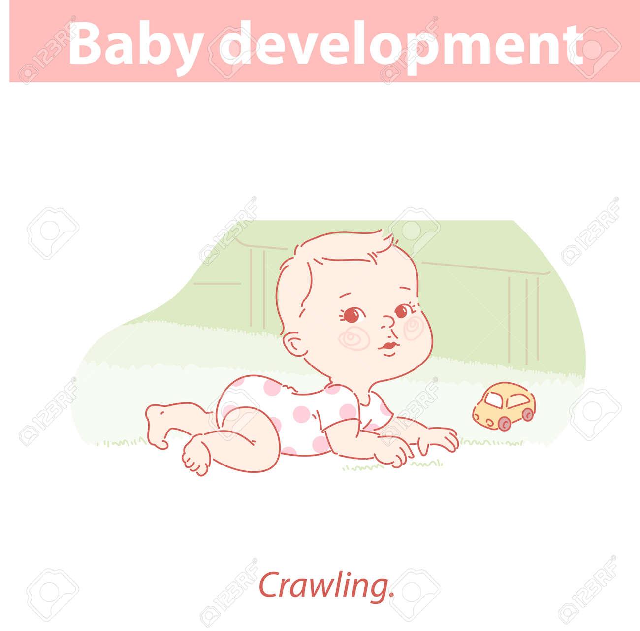Little baby lying, crawling on carpet. - 156884252