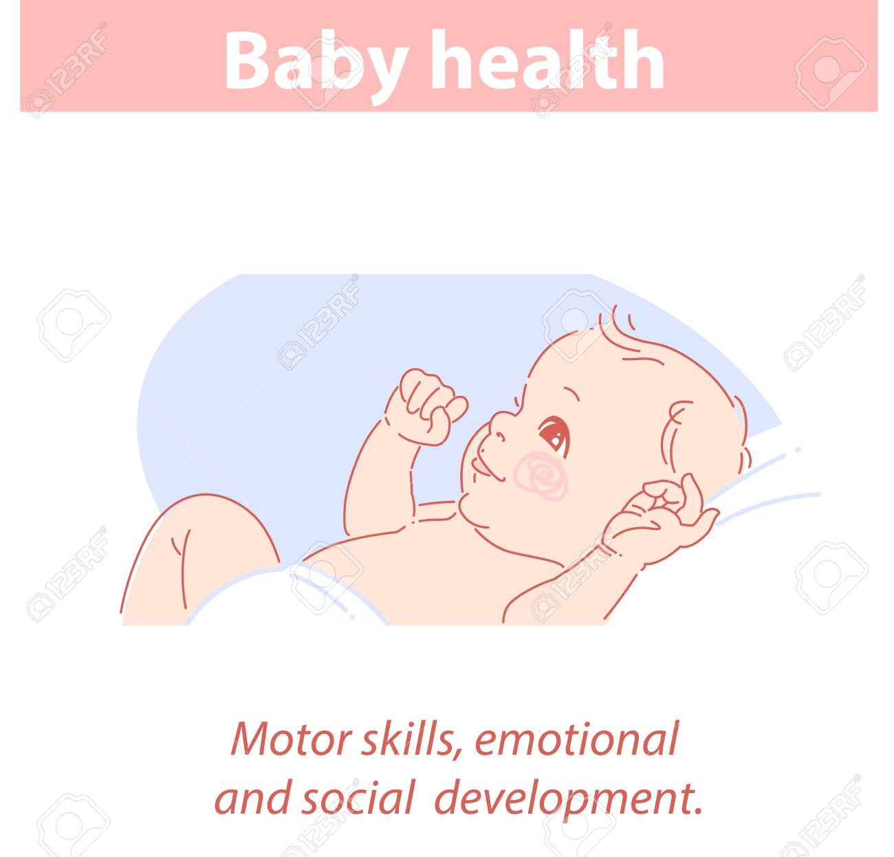 Cute little baby in diaper lying on back, smiling. - 156988931