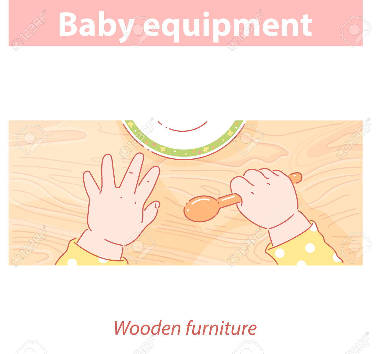 Baby hands on wood table. Baby equipment - 157941403
