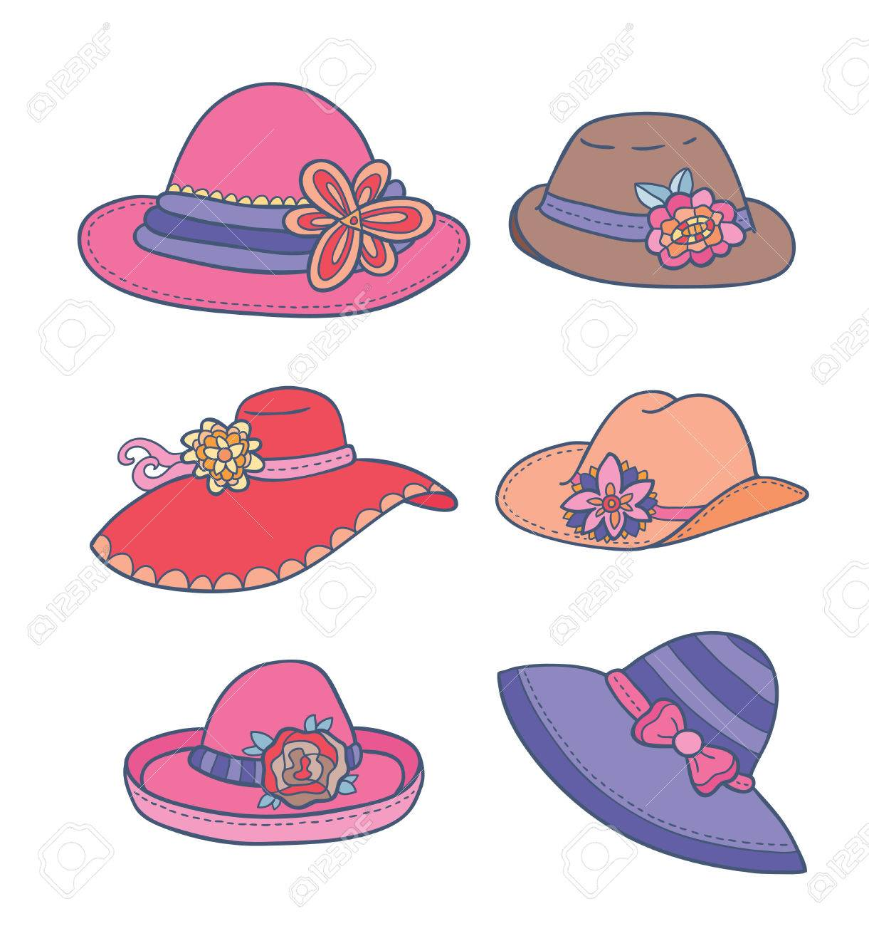 illustration of different types of summer women hats Stock Vector - 24912761 aba777dcc3e5