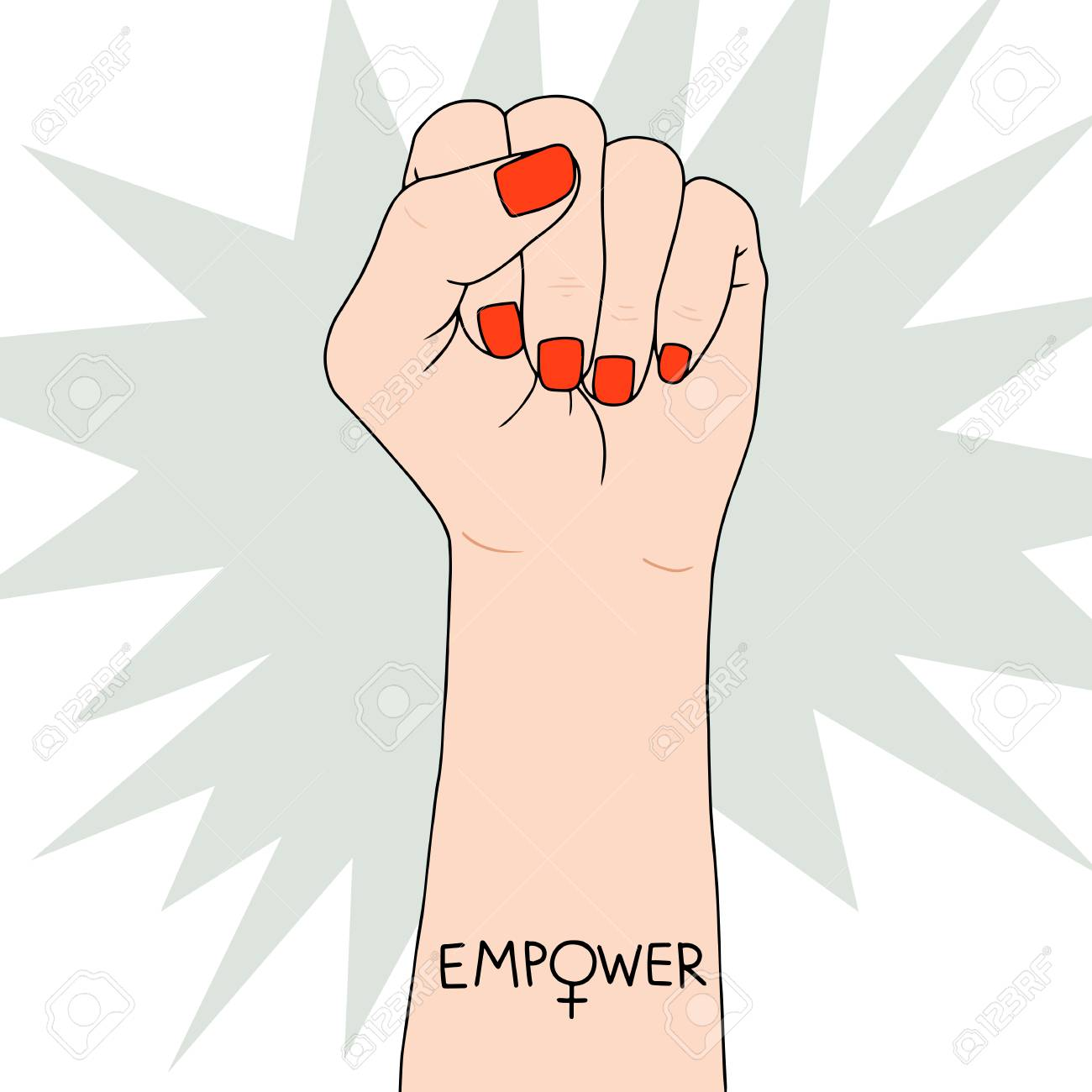 Feminism symbol on Fighting fist of a woman. Lovely vector illustration. Fight for the rights and equality. - 96060791