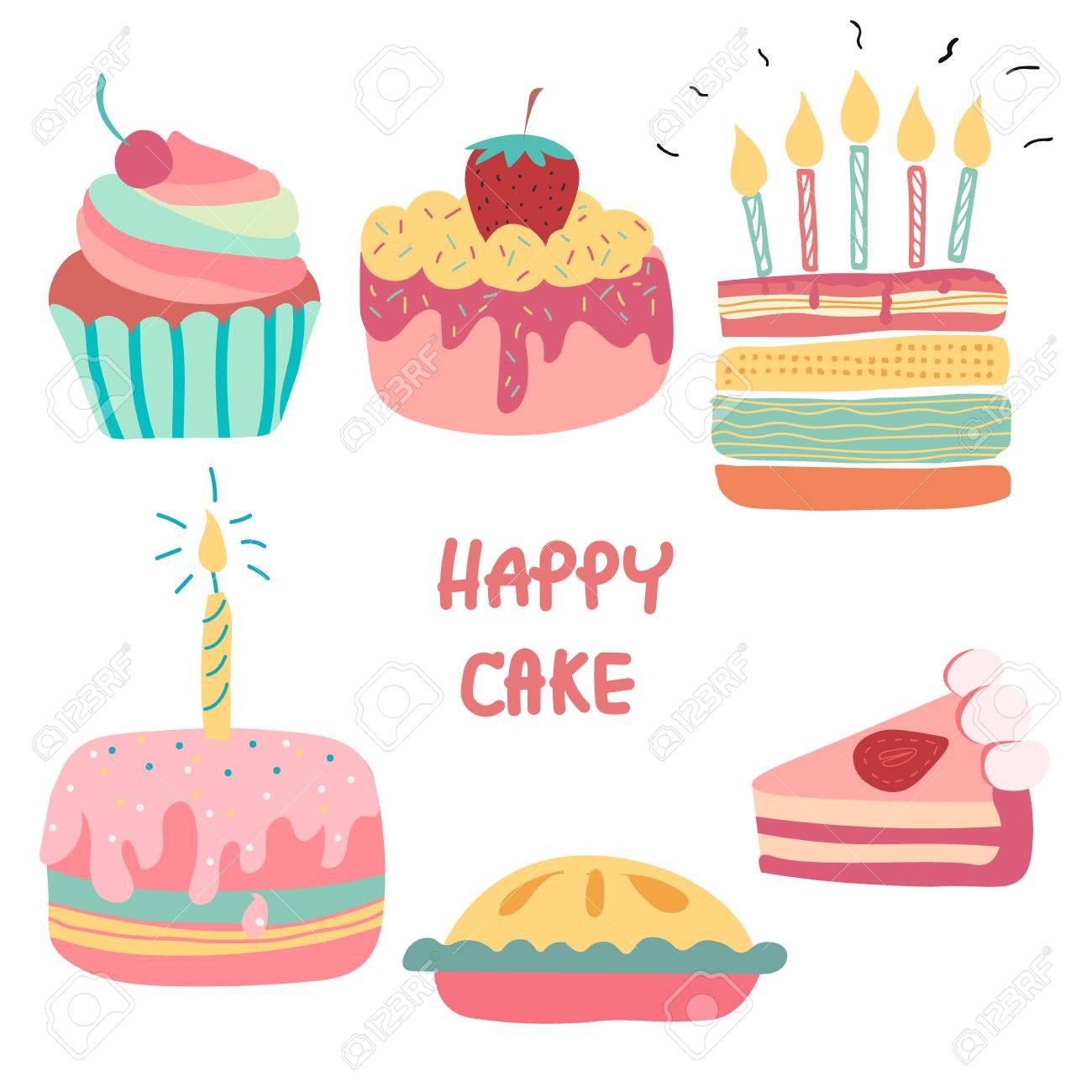Outstanding Doodle Hand Drawn Rainbow Cute Birthday Cake Royalty Free Cliparts Funny Birthday Cards Online Elaedamsfinfo