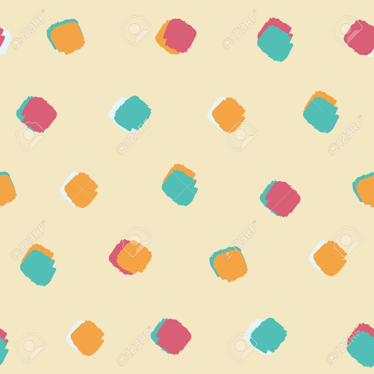 Summer Bright Colourful Ink Brush Square Dot Pattern Seamless